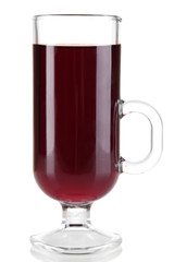 Mulled wine isolated on white