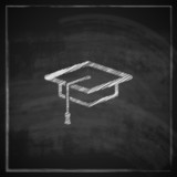 illustration with graduation cap sign on blackboard background.