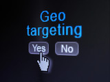 Business concept: Geo Targeting on digital computer screen