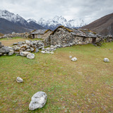 Old stone nepalese houses in Hymalayas in Khumbu region
