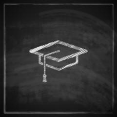 illustration with graduation cap sign on blackboard background.