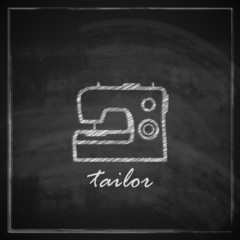illustration with sewing machine sign on blackboard background.