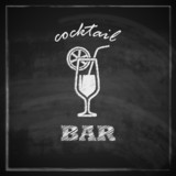 illustration with cocktail on blackboard background. bar sign