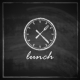 illustration with clock and cutlery on blackboard background.