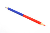 Bicoloured red and blue pencil isolated on white