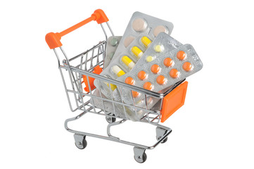 Shopping cart with medical supplies isolated on white