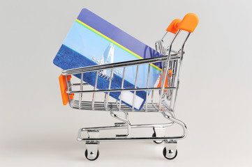 Shopping cart and credit card within on gray