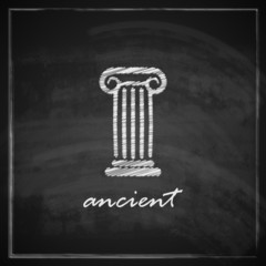 illustration with ancient column on blackboard background.
