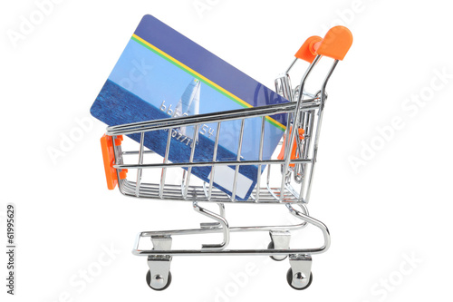Shopping cart and credit card within isolated on white