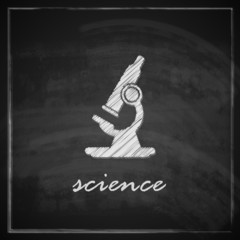 illustration with microscope on blackboard background.