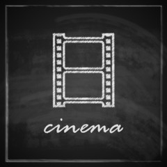 illustration with film strip sign on blackboard background.