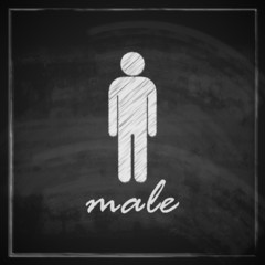 vintage illustration with male sign on blackboard background
