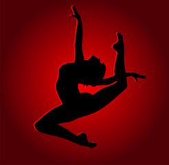 Flexible dancing girl in red light