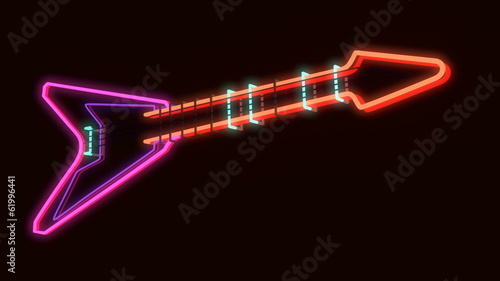 3d rendered modern guitar as neon lamp