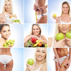 A collage of images with women and nutriotion