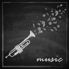 illustration with trumpet on blackboard background.