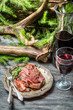 Red meat tastes best with wine