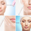A collage of women on a face lifting procedure