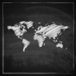 illustration with the world map on blackboard background