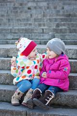 cheerful little girls friends