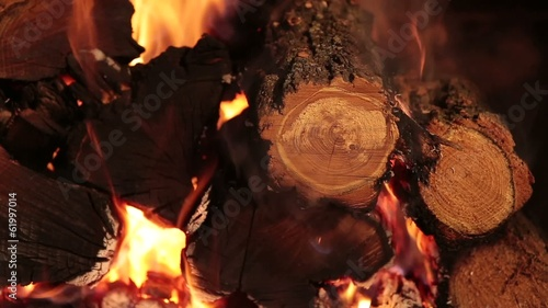 Burning firewood on closeup