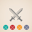 set of crossing swords icons. fight concept