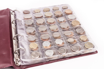 Coin album with world coins