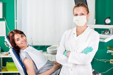 Patient and dentist in the dentist office