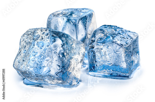 Three ice cubes on white background. - 61997288