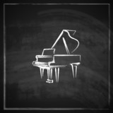 illustration with the grand piano on blackboard background.