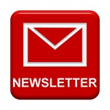 Roter Button: Briefsymbol - Newsletter