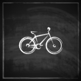 vintage illustration with a bike on blackboard background.