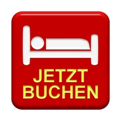 Roter Button: Bettsymbol - Jetzt buchen
