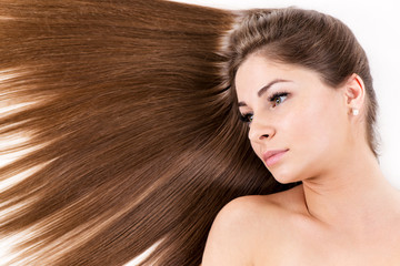 Portrait of girl with Beautiful healthy shiny hair.