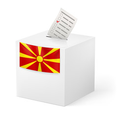 Ballot box with voicing paper. Macedonia