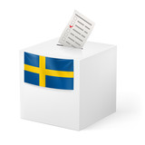 Ballot box with voicing paper. Sweden
