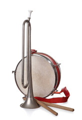 Pioneer Drum and bugle isolated on a white background