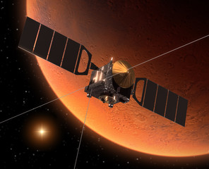 "Spacecraft ""Mars Express"" Orbiting Mars"