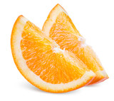 Two Slices of Orange Fruit Isolated on White Background