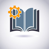Book icon with Cogwheel . Vector Illustration