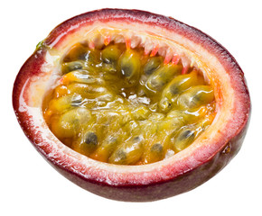 Passion fruit. Half of maracuya isolated on white background