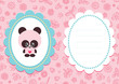 Pink baby card with cute panda