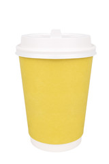 Plastic coffee cup, isolated on white