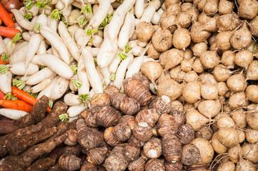 Fresh organic vegetables and fruits at asian food market