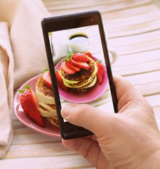 smartphone shot food photo  - pancakes,strawberries
