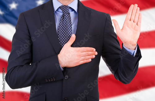 Businessman taking oath.