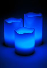 Three blue LED candles