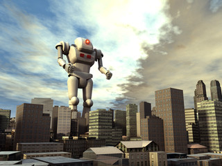 Robot gigante en una ciudad