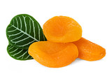 Dried apricots with leaves isolated