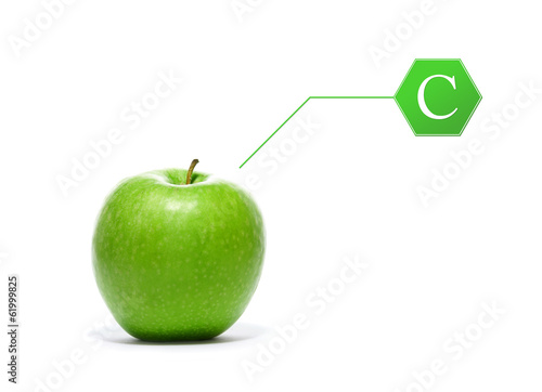 A green apple with a vitamin sign isolated on white